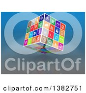 Clipart Of A 3d Cube Of Colorful Web Icons On Reflective Blue Royalty Free Illustration by MacX