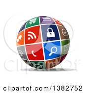 3d Globe Of Colorful Web Icons With A Shadow On White