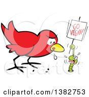 Clipart Of A Cartoon Hungry Early Red Bird Drooling And Eyeing A Scared Worm That Is Pleading And Holding A Go Vegan Sign Royalty Free Vector Illustration