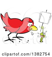 Clipart Of A Cartoon Hungry Early Red Bird Drooling And Eyeing A Scared Worm That Is Pleading And Holding A Sign Royalty Free Vector Illustration