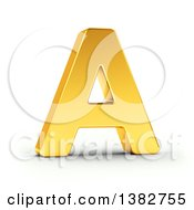 Clipart Of A 3d Golden Capital Letter A On A Shaded White Background With Clipping Path Royalty Free Illustration by stockillustrations