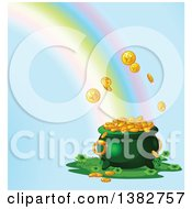 Clipart Of A Rainbow Crashing Into A Pot Of Gold Over Blue Royalty Free Vector Illustration