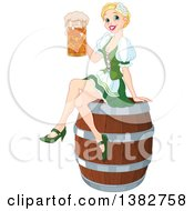 Happy Blond Oktoberfest Or St Patricks Day Beer Maiden Woman Sitting On A Keg Barrel And Holding A Mug