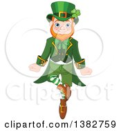 Clipart Of A Cheerful St Patricks Day Leprechaun Dancing Royalty Free Vector Illustration by Pushkin