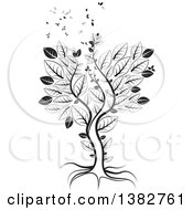 Clipart Of A Black And White Abstract Tree With Leaves Flying Away Royalty Free Vector Illustration