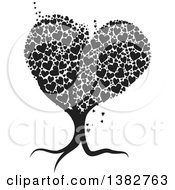 Clipart Of A Black And White Abstract Tree With Hearts Royalty Free Vector Illustration