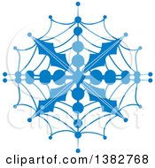 Blue Ornate Winter Snowflake