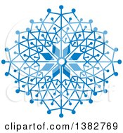 Clipart Of A Blue Ornate Winter Snowflake Royalty Free Vector Illustration by MilsiArt