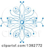 Clipart Of A Blue Ornate Winter Snowflake Royalty Free Vector Illustration
