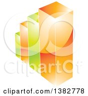 Clipart Of A 3d Green And Orange Shiny Bar Graph Royalty Free Vector Illustration