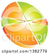 Clipart Of A 3d Green And Orange Shiny Pie Chart Royalty Free Vector Illustration