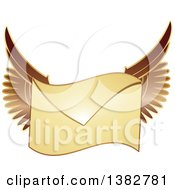 Clipart Of A Golden Envelope With Wings Royalty Free Vector Illustration