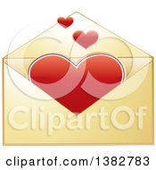 Clipart Of A Golden Envelope With Valentine Hearts Royalty Free Vector Illustration