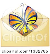 Clipart Of A Golden Envelope With A Butterfly Royalty Free Vector Illustration by MilsiArt