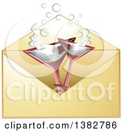 Clipart Of A Golden Invitation Envelope With Champagne Glasses Royalty Free Vector Illustration