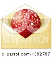 Clipart Of A Golden Invitation Envelope With A Red Disco Ball Royalty Free Vector Illustration by MilsiArt