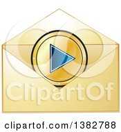 Clipart Of A Golden Invitation Envelope With A Media Play Button Royalty Free Vector Illustration by MilsiArt