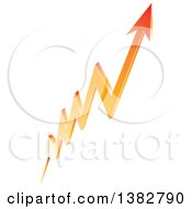 Clipart Of A 3d Shiny Orange Arrow Pointing Up Royalty Free Vector Illustration