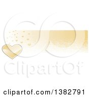 Clipart Of A Valentines Day Website Banner Header With A Gold Heart And Grunge Royalty Free Vector Illustration