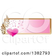 Clipart Of A Valentines Day Website Banner Header With A Pink Heart Gold Frame And Ornate Floral Scroll Royalty Free Vector Illustration by MilsiArt