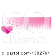 Clipart Of A Valentines Day Website Banner Header With A Pink Heart And Grunge Royalty Free Vector Illustration