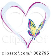 Clipart Of A Butterfly On A Blue And Purple Love Heart Royalty Free Vector Illustration