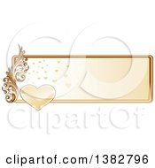 Clipart Of A Valentines Day Website Banner Header With A Gold Heart Frame And Ornate Floral Scroll Royalty Free Vector Illustration