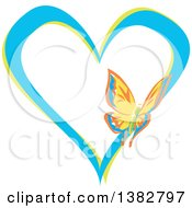 Clipart Of A Butterfly On A Blue And Green Love Heart Royalty Free Vector Illustration