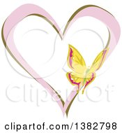 Clipart Of A Butterfly On A Pink And Green Love Heart Royalty Free Vector Illustration