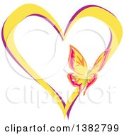 Clipart Of A Butterfly On A Yellow And Purple Love Heart Royalty Free Vector Illustration