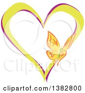 Clipart Of A Butterfly On A Green And Purple Love Heart Royalty Free Vector Illustration