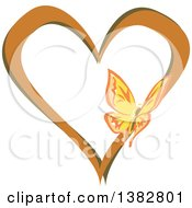 Clipart Of A Butterfly On A Brown And Green Love Heart Royalty Free Vector Illustration