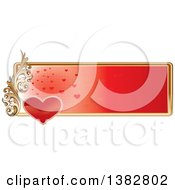 Clipart Of A Valentines Day Website Banner Header With A Red Heart Gold Frame And Ornate Floral Scroll Royalty Free Vector Illustration