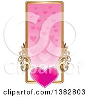 Clipart Of A Valentines Day Website Banner Header With A Pink Heart Gold Frame And Ornate Floral Scrolls Royalty Free Vector Illustration
