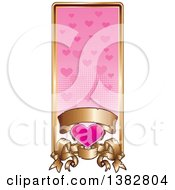 Valentines Day Website Banner Header With A Pink Heart Gold Frame And Ornate Floral Scrolls