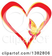 Clipart Of A Butterfly On A Red And Yellow Love Heart Royalty Free Vector Illustration