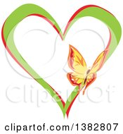 Clipart Of A Butterfly On A Green And Red Love Heart Royalty Free Vector Illustration