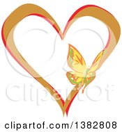 Clipart Of A Butterfly On A Brown And Red Love Heart Royalty Free Vector Illustration