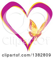 Clipart Of A Butterfly On A Purple And Yellow Love Heart Royalty Free Vector Illustration