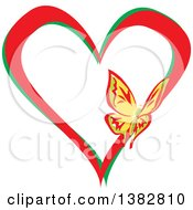 Clipart Of A Butterfly On A Red And Green Love Heart Royalty Free Vector Illustration