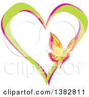 Clipart Of A Butterfly On A Green And Pink Love Heart Royalty Free Vector Illustration