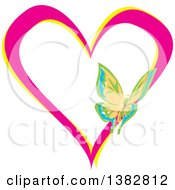 Clipart Of A Butterfly On A Pink And Yellow Love Heart Royalty Free Vector Illustration