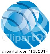 3d Abstract Blue Glossy Circle Icon With Split Parts