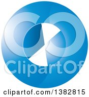 Clipart Of A 3d Abstract Blue Circle Icon Royalty Free Vector Illustration