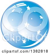 Clipart Of A 3d Abstract Shiny Blue Starry Sphere Icon Royalty Free Vector Illustration