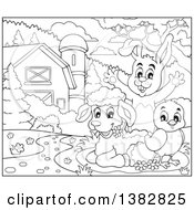 Clipart Of A Black And White Lineart Rabbit Chick And Lamb In A Barnyard Royalty Free Vector Illustration by visekart