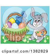 Clipart Of A Happy Gray Easter Bunny Rabbit Painting Eggs In A Basket Royalty Free Vector Illustration