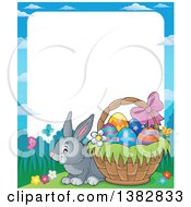 Clipart Of A Happy Gray Easter Bunny Rabbit By A Basket Of Eggs Royalty Free Vector Illustration