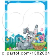 Clipart Of A Border Of A Happy Gray Easter Bunny Rabbit Leaning Against A Basket Of Eggs Royalty Free Vector Illustration