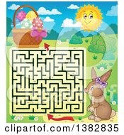 Clipart Of A Maze Leading A Bunny Rabbit To An Easter Basket Royalty Free Vector Illustration